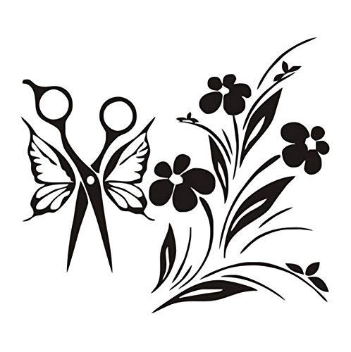 Tijera Con Alas Ramo Pegatinas de Pared de Vinilo Removible Tatuajes de Pared Salón de Belleza Etiqueta de La Pared Mural Papel Tapiz A Prueba de agua 44x49 cm