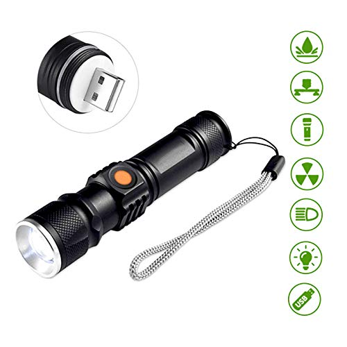 Torcia a LED Ricaricabile Mini USB 3 Modalità Livelli di Torcia a Fascio di Luce con Batteria al Litio Ricaricabile Tramite USB,Fatta in Lega di Alluminio