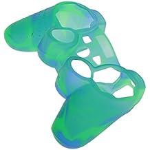 Silicone Custodia Cover Copertura Cassa Skin Protettiva Per SONY Ps2 Ps3 Controller - Blu + Verde