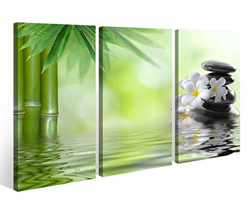 Leinwandbild 3 Tlg. Wellness Ruhe Bambus Zen Steine Leinwand Bild Bilder auf Keilrahmen Holz -...