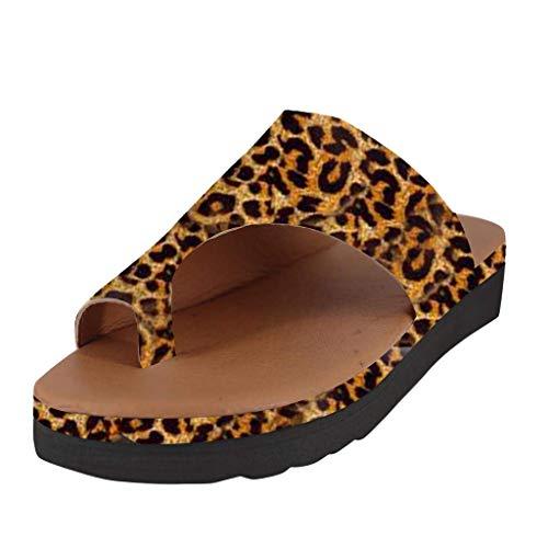menFrauenMädchenStrandSommerLeopard Wedges Offene Zehe SchuheFrauRömische SlipperMode2019 (36 EU, Gelb-1) ()