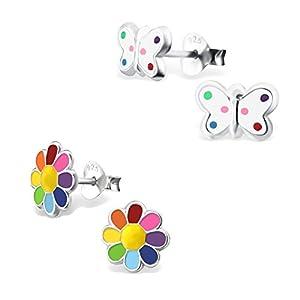 2 Paar Kinder Ohrringe 925 Silber Mädchen Ohrstecker Schmetterling und Blume