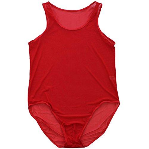 YiZYiF Sexy Herren Körperformung durchsichtig Netz Stringbody Overall Männer Body Unterwäsche Musle Shirt Unterhemd Dessous (XL, Rot) -