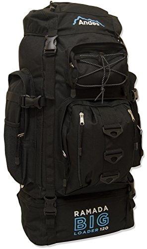 Andes Black Ramada 120L Extra Large Hiking Camping Backpack/Rucksack Luggage Bag