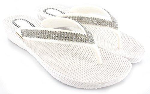 Tongs à strass avec petit talon compensé pour femme Confortables Idéal pour la plage Pointures 36 à 41 Blanc