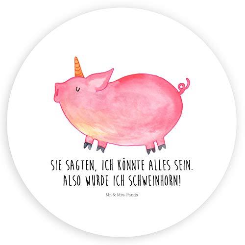 Mr. & Mrs. Panda Aufkleber, Etikett, 40mm Rund Aufkleber Einhorn Schweinhorn mit Spruch - Farbe Weiß (Schwein Terminkalender)