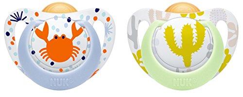 NUK 10173079 Genius Color Latex-Schnuller, kiefergerechte NUK Form, zahnfreundlich, 18-36 Monate, BPA frei, 2 Stück, Boy