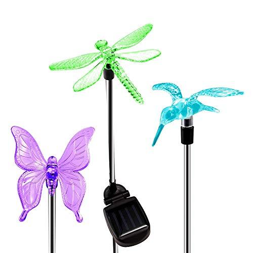 KANYEE 3 Pcs Energía Solar Butterfly Colibrí Libélula Led Cambio de Color...