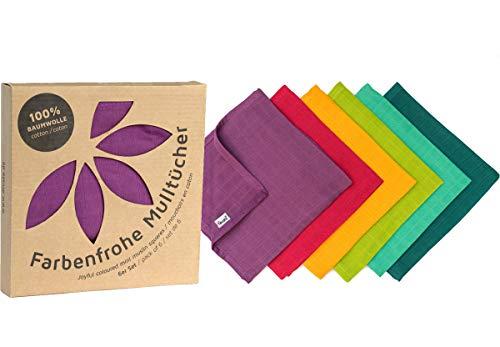 ❤ divata bunte MINI Mulltücher 6er Set Rainbow, ca.40x40cm - kleine, farbige Baby Spucktücher, Mull-Waschlappen, Oeko-Tex-Zertifiziert