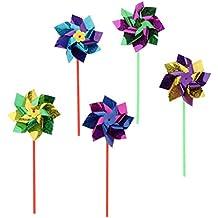 D DOLITY 50 Unidades Molinillo de Viento de Flores Plástico Colorido Brillante Manga de Viento Decorativo