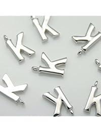 d6ae0746d0dd 2 piezas de brillante plata brillante alfabeto inicial  apos K apos   colgantes encantos conectores enlaces