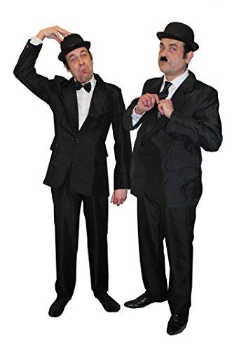 Gangster Themen Kostüm - ILOVEFANCYDRESS DICK+DOOF= MÄNNER SCHWARZ Brother of Blues Fasching Karneval Themen Party= 2 ANZÜGE +2 MELONEN +1 Krawatte +1 Fliege+ 1 Set AUGENBRAUEN+SCHNÄUTZER=MEDIUM++XLarge
