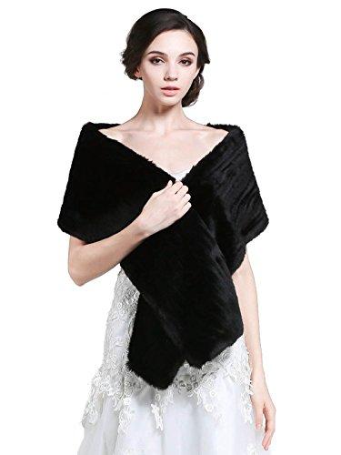 Aukmla, Hochzeits-Pelz für Damen, Braut und Brautjungfer Gr. Einheitsgröße, schwarz (Vintage Wrap-around-rock)