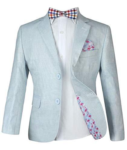 it Anzüge Seite Junge Kinder Sommer Outfit Junge formelle Anzug Multi Farben Leinen - 4 Teile EIS Blauer Anzug, 8 Years ()