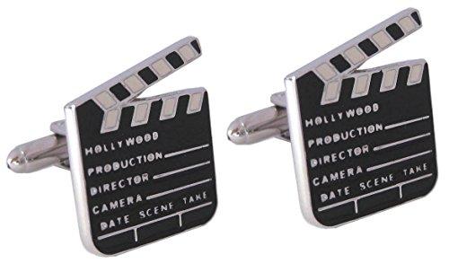 Manschettenknöpfe Filmklappe schwarz weiss silbern + Silberbox (Billig Film Requisiten)