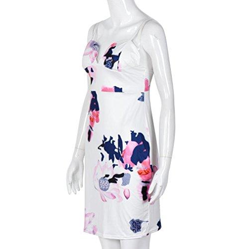 Sannysis Damen Riemchen Floral Midi Bodycon-Club-Bleistift-Kleid Weiß