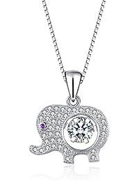 J.Vénus Para Mujer Joyas, Collar de Plata con Colgante de Plata de ley 925 Zirconia 45cm / Collar, Joyería con el Caso (eterno amor - Blanco)