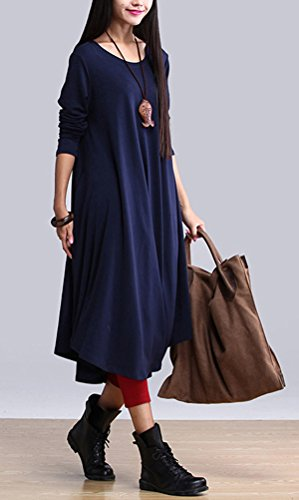 MatchLife Femme Col Rond Big Hem Robe Bleu Marin