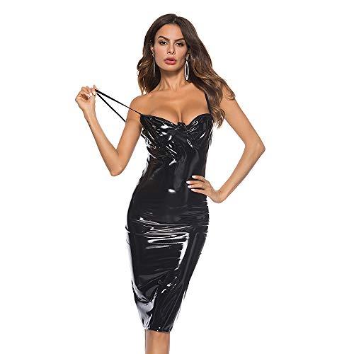 HJG Damen Wet Look Lack Latex Kleid und Neckholder Leder Kleid, Midi Bodycon Leder Dessous für Damen, Nachtclub Kleid (Pink, Schwarz, Weiß),Black,XXXXL -