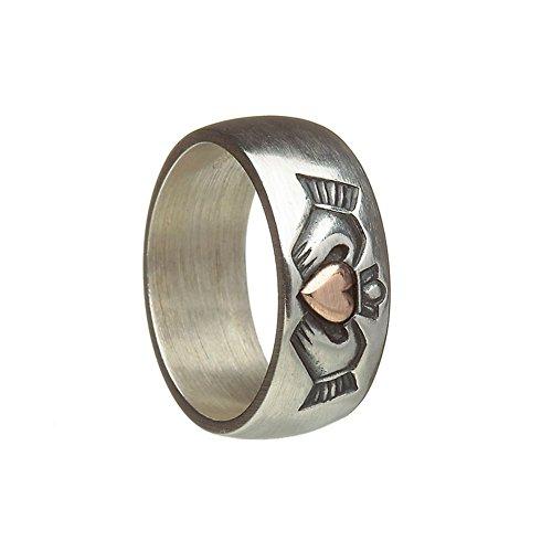 Keltische 8mm Antik Stil Silber und Rose Gold irische Claddagh-Ehering. Größe 66 (Irische Claddagh-ring Für Männer)