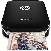 HP Sprocket Mobiler Fotodrucker (Drucken Ohne Tinte, Bluetooth, 5 x 7,6 cm Ausdrucke) Schwarz/Silber
