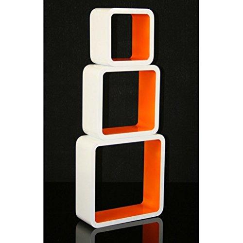 3 étagères cubes murales en MDF blanc-orange rangement ETA06057