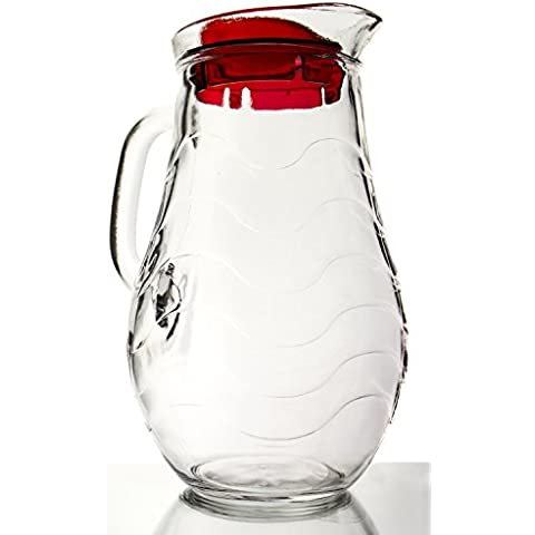 Sea Current Clear Glass Pitcher with Lid, 1.9 Quart by Red Co.
