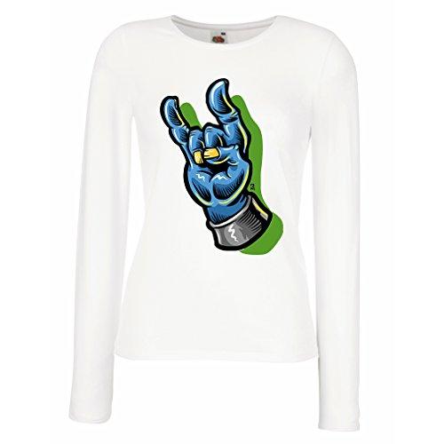 Maniche Lunghe Femminili T-Shirt Mano di Zombie Un Simbolo di Rock And Roll, Segno delle Corna, Segno di Metallo (X-Large Bianco Multicolore)
