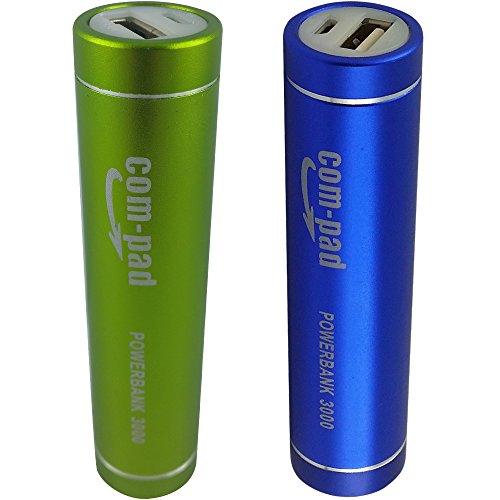 COM-PAD Powerbank 3000 Mobiler Akku Smartphone Handy USB Ladegerät iPhone Samsung - (2 Pack) Grün+Blau