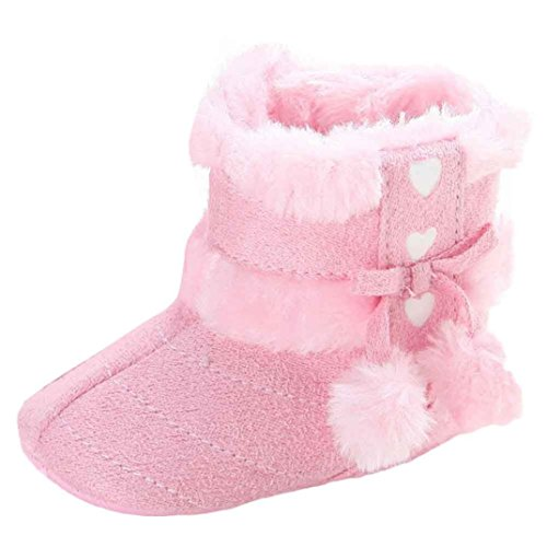 LongraKleinkind Baby Mädchen Warm Halten Schneestiefel Weiche Sohlen Krippe Schuhe Kleinkind-Stiefel Rosa