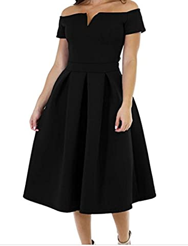 Bling-Bling Solid Thick Flare Midi Vintage Dress(Black,M)