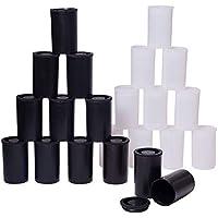 PandaHall Elit 40 Unidades 3,35 x 5,4 cm plástico película contenedores con Tapas, Camara vacía Carrete para Guardar Cuentas, Llaves, películas, Monedas, pequeños artículos, Blanco y Negro