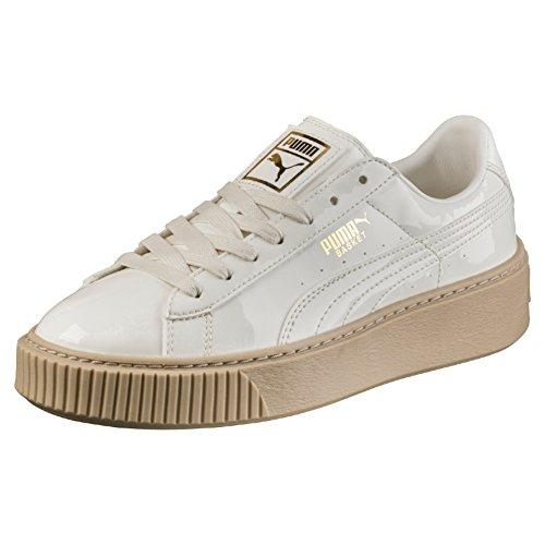 Puma Damen Basket Platform Patent Sneaker Weiß (Marshmallow-Marshmallow)