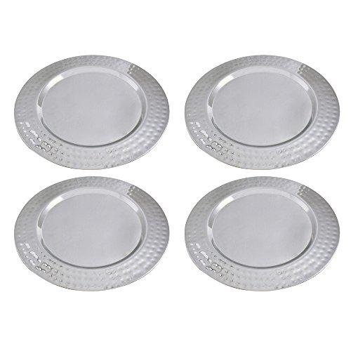 Kosma Set mit 4 Premium Ladegerät Platten, Größe 33 cm, Edelstahl hochglanzpoliert Ladegerät Platte | Dekorative Under-Plates