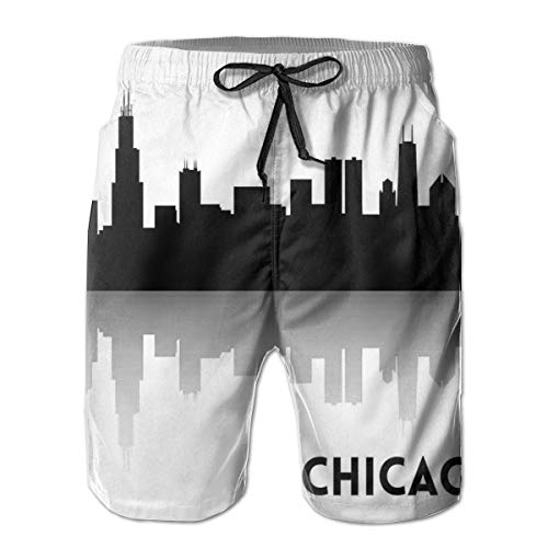 jiger Men Swim Trunks Beach Shorts,Downtown Skyscrapers Illinois Tourism Travel Country Urban Minimalist,Quick Dry 3D Printed Drawstring Casual Summer Surfing Board Shorts XXL - Illinois Shorts