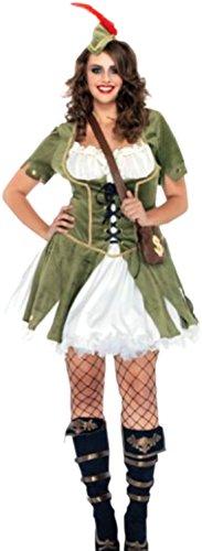 Robin Hood Kostüm Kleid mit Weste, Hut und Schultasche, 3XL, Grün (Robin Halloween Kostüme)