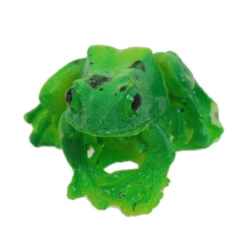 sourcing map Aquarium Landschaftsbau simulierend Keramische Grün Gelb Frosch Ornament de