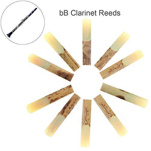 OriGlam Blätter für Bb-Klarinette (Stärke Bb 2,5, Bb Klarinette, traditionelle Bambusstäbchen, Bb 2,5 Klarinettenblätter für Klarinetten-Mundstückteile, 10 Stück