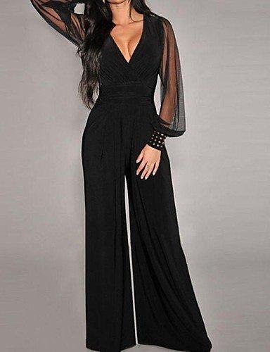 GSP-Combinaisons Aux femmes Manches Longues Sexy Spandex / Polyester Moyen Micro-élastique black-one-size