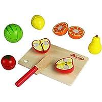 ACOOLTOY 15 Pezzi Frutta di Legno da Tagliare Gioco di Ruolo per 3 Anni Bambini