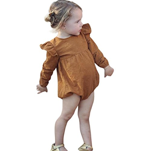 Janly Newborn Toddler Infant Baby Kid Girl Long Sleeve Solid Jumpsuit Outfits Clothes (12M, Khaki) (Lila Bekleidung Infant)