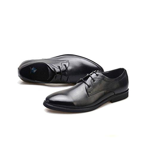 Hhy-men Affaires Casual En Cuir En Cuir Robe Lacets Chaussures Noires