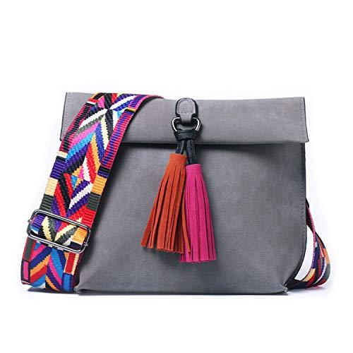 Availcx-Shoulder Bag-Frauen Peeling Leder Umh?ngetasche Mit Quaste M?dchen Bunten Riemen Umh?ngetasche Weibliche Kleine Klappe Handtaschen -