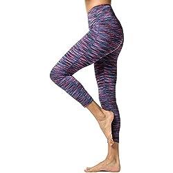 LAPASA Pantalón Deportivo de Mujer, Malla para Running, Yoga y Ejercicio. L01 (7.Authentic Purple, S/36 (Cintura 64-74, Pernera 64.5 cm))