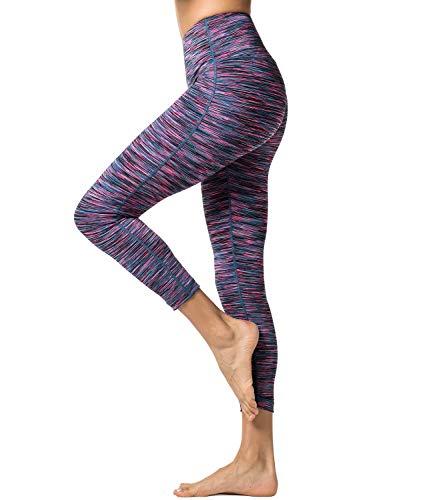Lapasa Yoga Lange Leggings, Strechy Yoga Sporthosen, atmungsaktiv, hautsympathisch und elastisch (L, Blaulila)