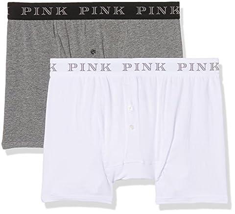 Thomas Pink Men's Baker Boxer Briefs, Multicoloured (White/Grey Marl), Medium pack of 2