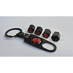 4 cappucci antipolvere per valvole ruote di camper, moto e bici BMX, con disegnato un teschio rosso, chiave a settore inclusa, stile portachiavi