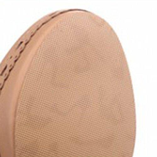 Oasap Femme Boots A Lacet Talons Hauts Talons Bloc Dentelle Zip pink