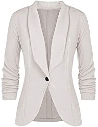 IZHH Damen-Blazer-Art- und Weisefrauen Normallack OL Art- und Weise 3-4 Hülsen-Drehen-unten Kragen-Knopf-Blazer-Elegante Mantel-dünne Klage-Mantel-Geschäfts-Artjacke