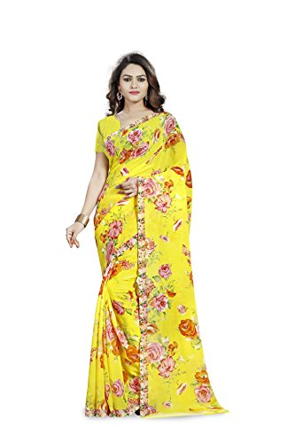 Anand Sarees Faux Georgette Yellow & Multi Colored Printed Saree With Blouse Piece (1192_1)  available at amazon for Rs.269